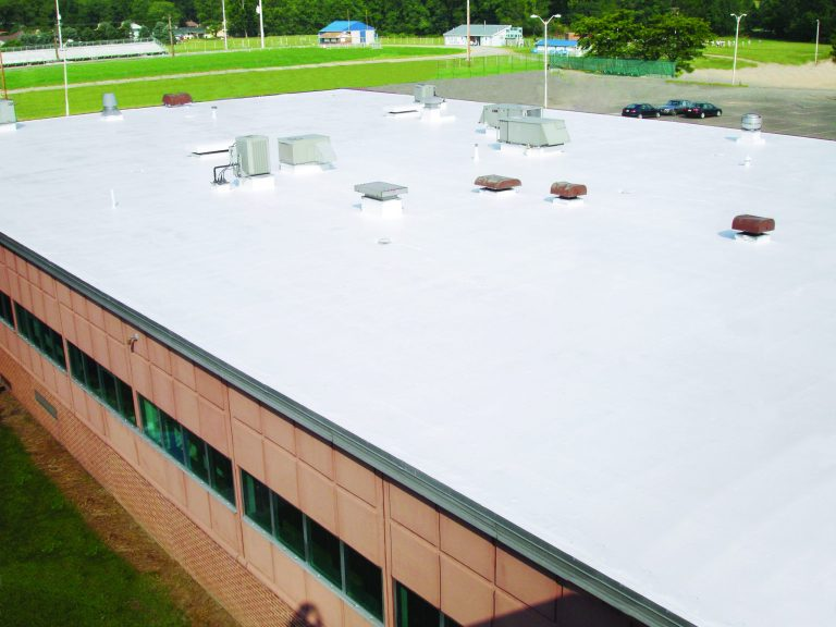 a white roofing contractor project